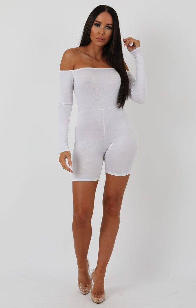 White Long Sleeve Bardot Playsuit - Lana