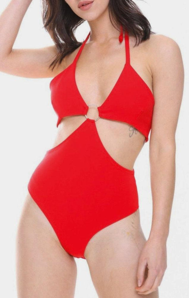 Red Ring Front Halter Neck Bodysuit - Jessi