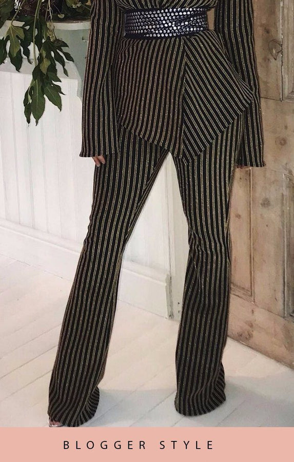 Black And Gold Glitter Stripe Flared Trousers