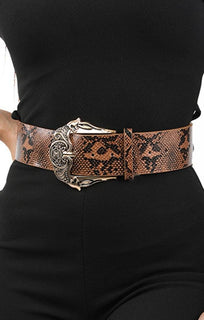 Brown Snake Print Buckle Belt - Morgan