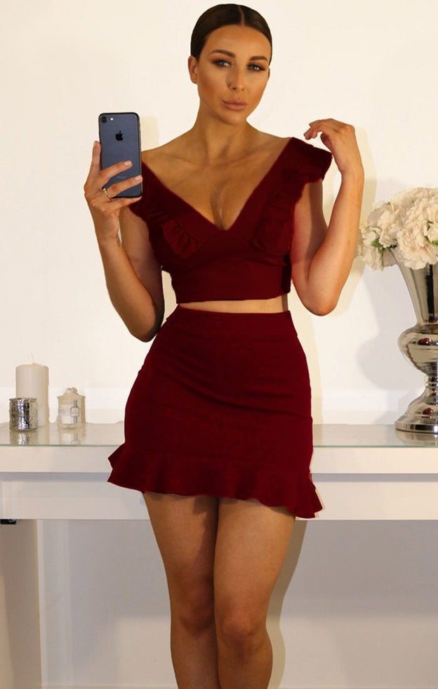 Wine Frill Sleeve Crop Top