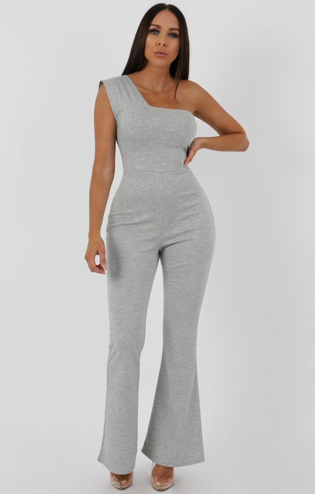 Grey One Shoulder Ribbed Flare Jumpsuit - Clara