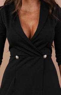 Black Cropped Sleeve Blazer Playsuit - Milly
