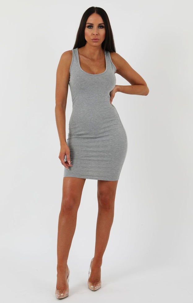 Grey Scoop Neck Bodycon Dress - Alex