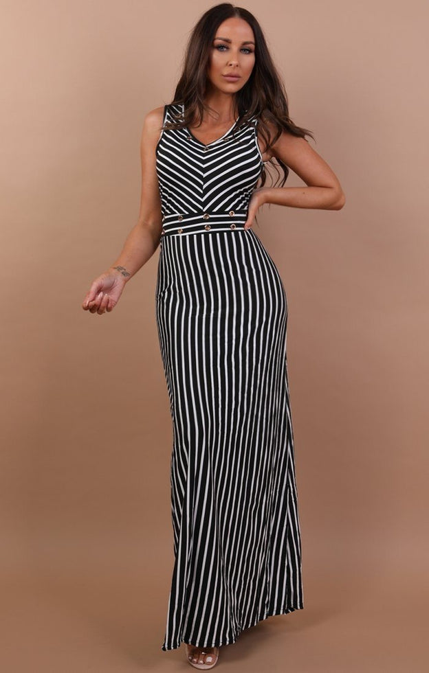 Black And White Maxi Dress - Tasha