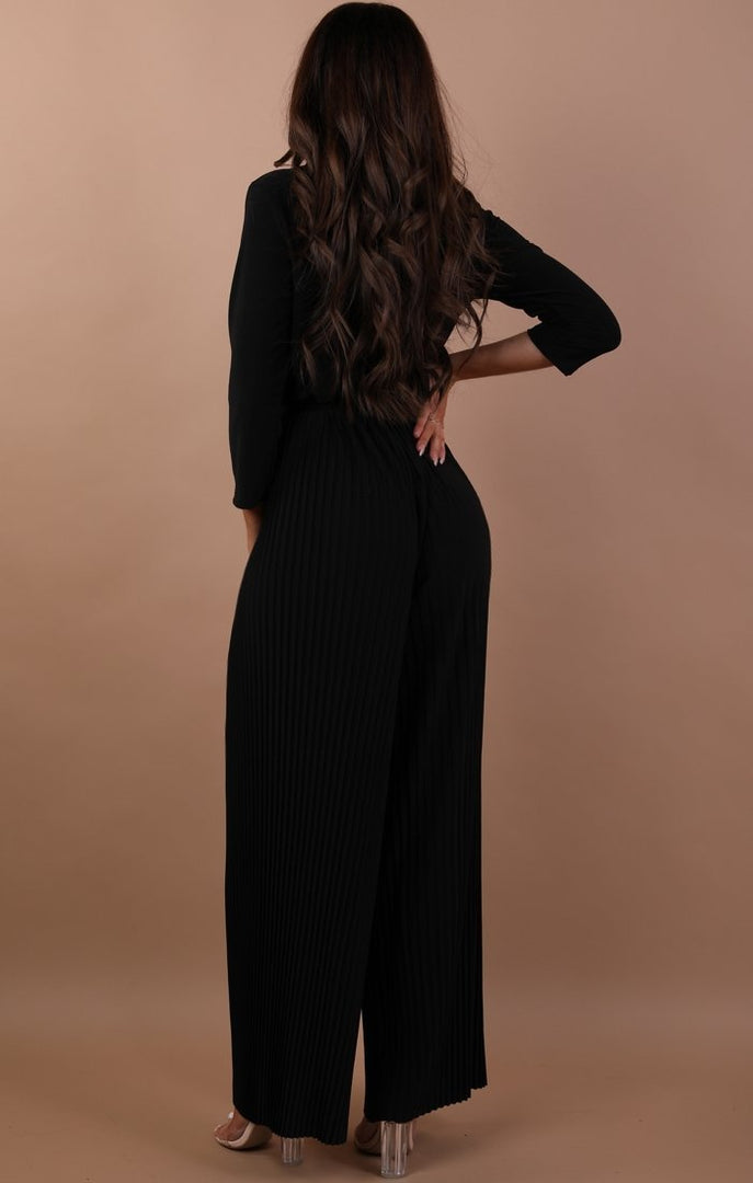Black Pleated Wide Leg Jumpsuit - Abigail