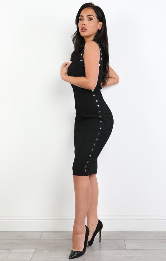 Black Ribbed Studded Midi Dress - Billie