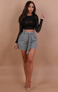 Black Mesh Crew Neck Crop Top - Rosi
