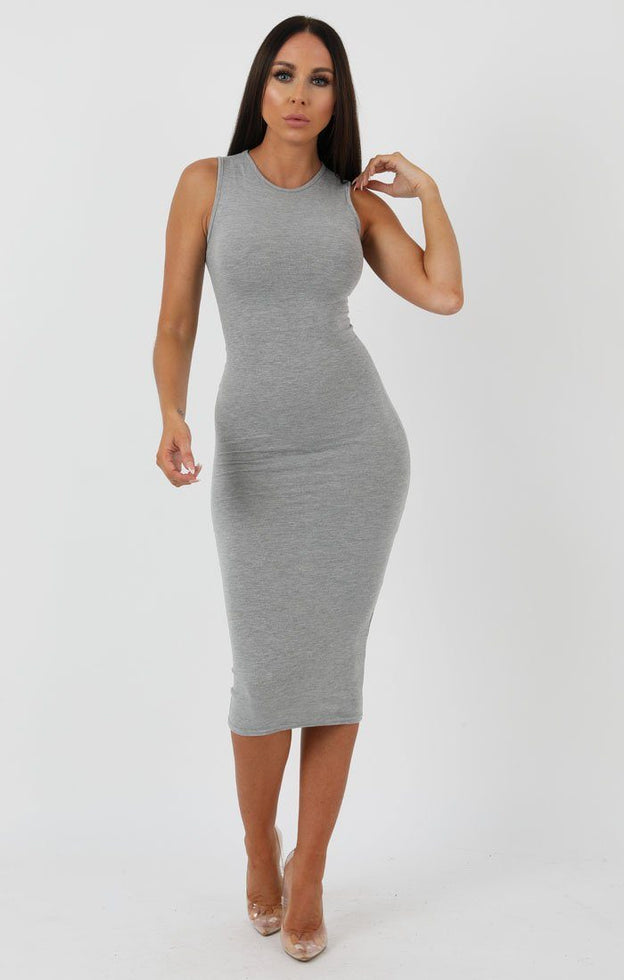 Grey High Neck Bodycon Midi Dress - Lucy