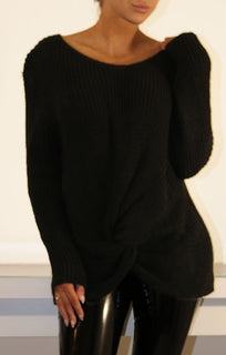 Black Twisted Front Knitted Jumper