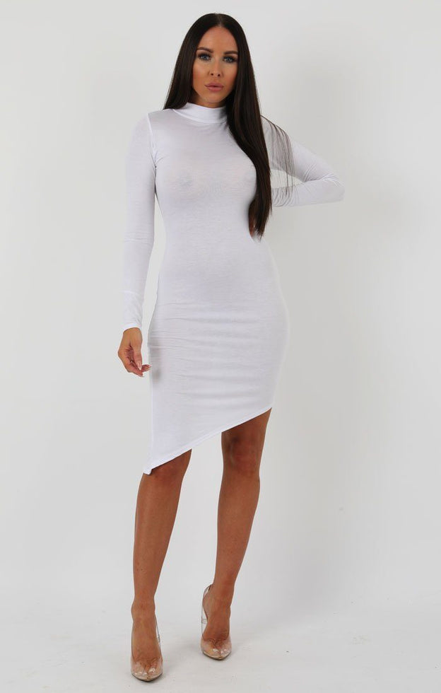 White Long Sleeve High Neck Split Bodycon Dress - Sabrina