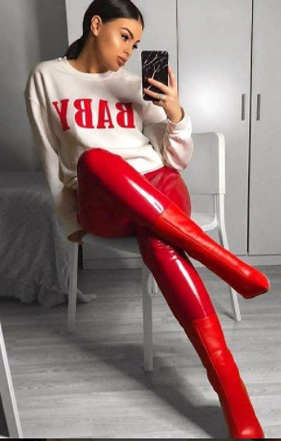Red High Shine Vinyl Pu Trousers - Roxi