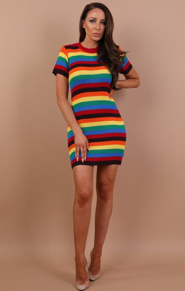 Rainbow Knitted Bodycon Mini Dress - Allie