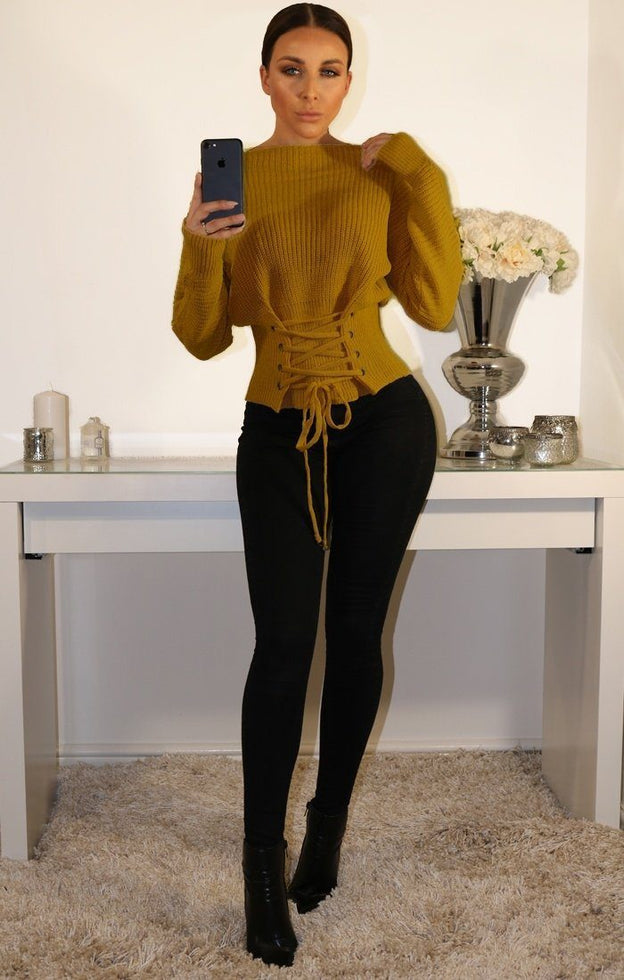 Mustard Corset Front Knitted Jumper