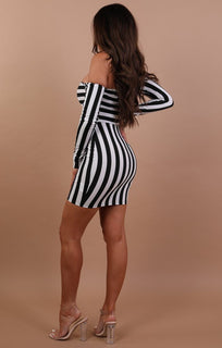 Black And White Bardot Mini Dress - Clara