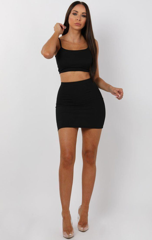 Black Mini High Waist Skirt Two Piece Co-ord Set - Aliyah