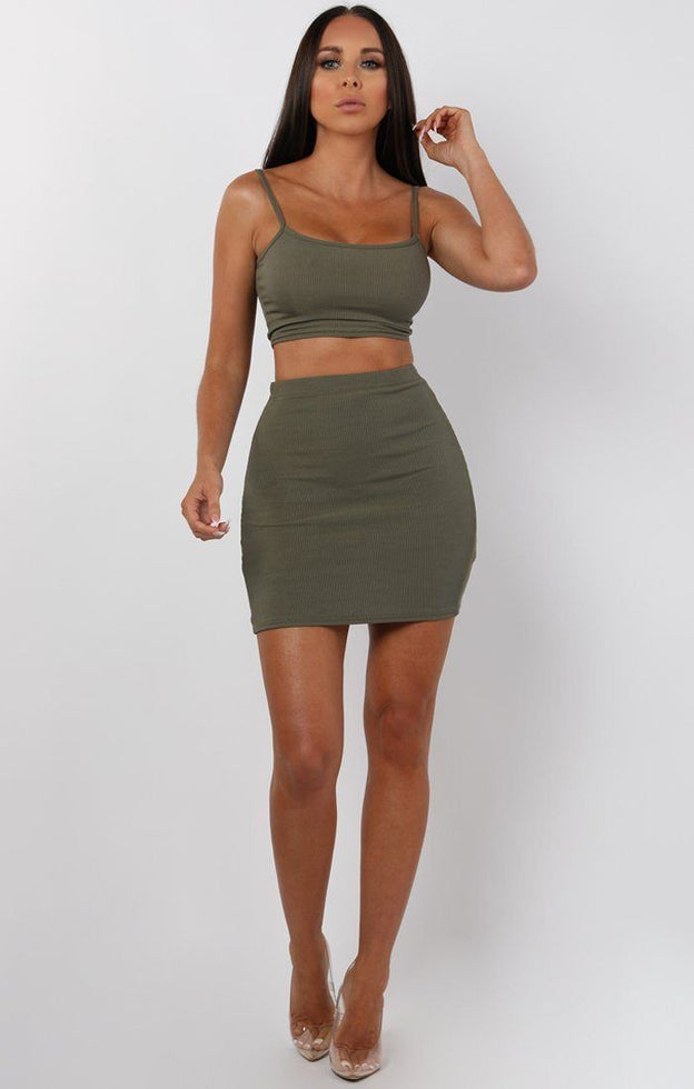 Khaki Mini High Waist Skirt Two Piece Co-ord Set - Aliyah