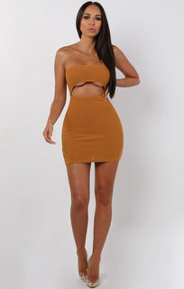 Mustard Bandeau Cut Out Mini Dress - Leana