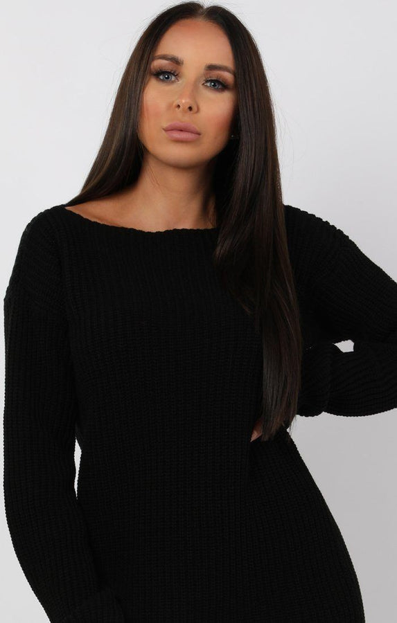 Black Bodycon Long Sleeve Jumper Dress - Cara