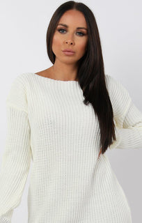 Cream Bodycon Long Sleeve Jumper Dress - Cara