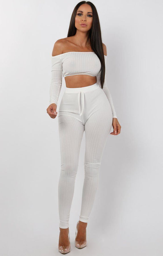 Cream Bardot Ribbed Loungewear Set - Estelle