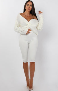 Cream Front Twist Bobble Stitch Jumper - Avery