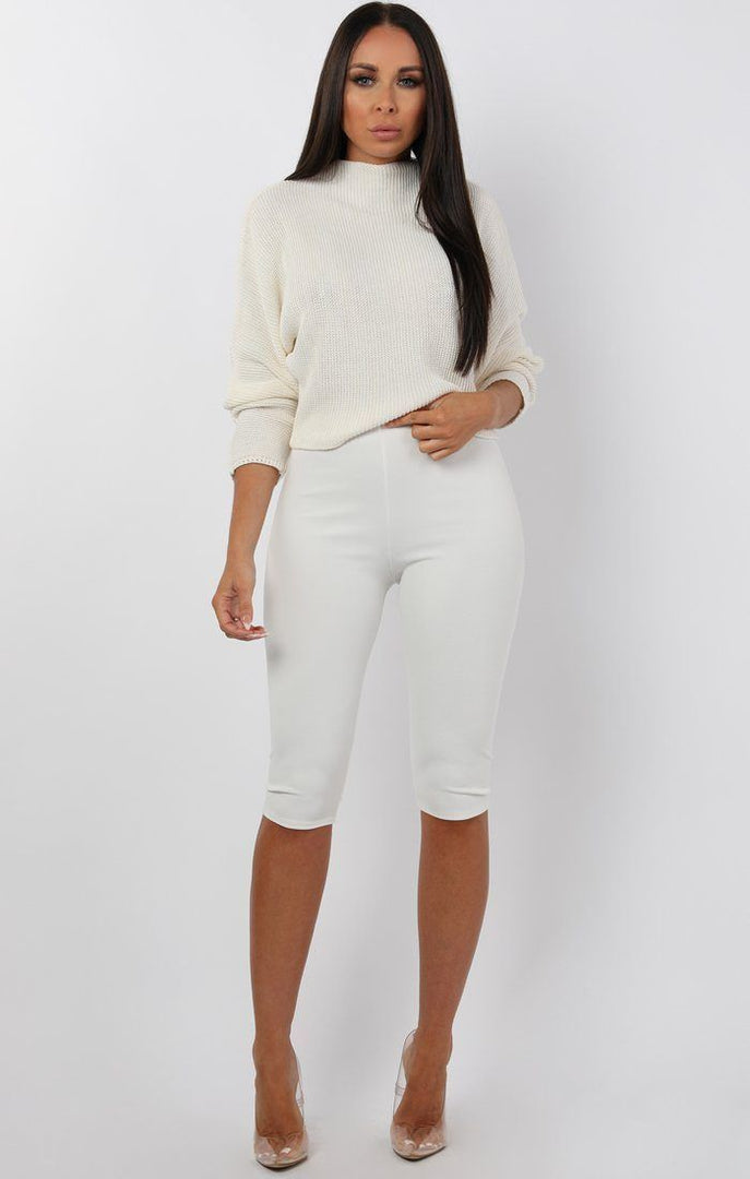 Cream High Neck Cropped Knit Jumper - tatum