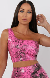 Hot Pink Animal Snake Print Pu One Shoulder Crop Top - Keeley