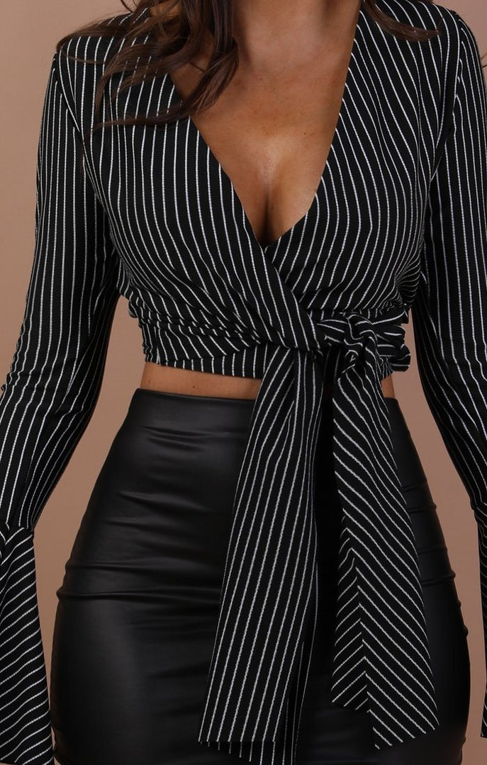 Black Striped Bell Sleeve Crop Top - Margot