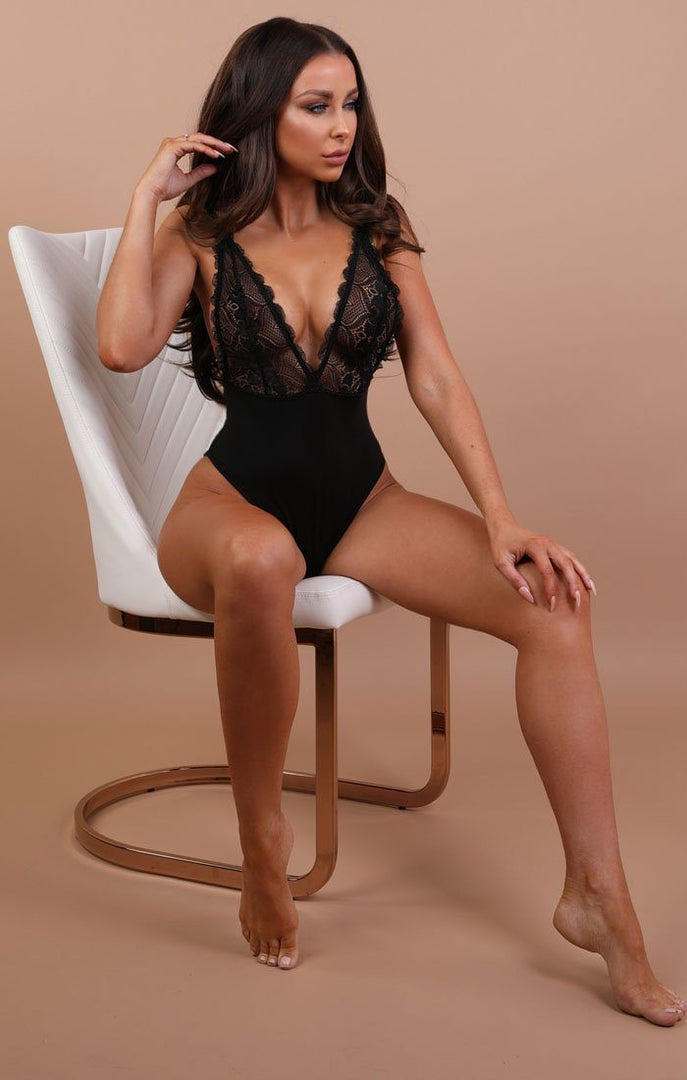 Black Lace V Front Bodysuit - Kimmy