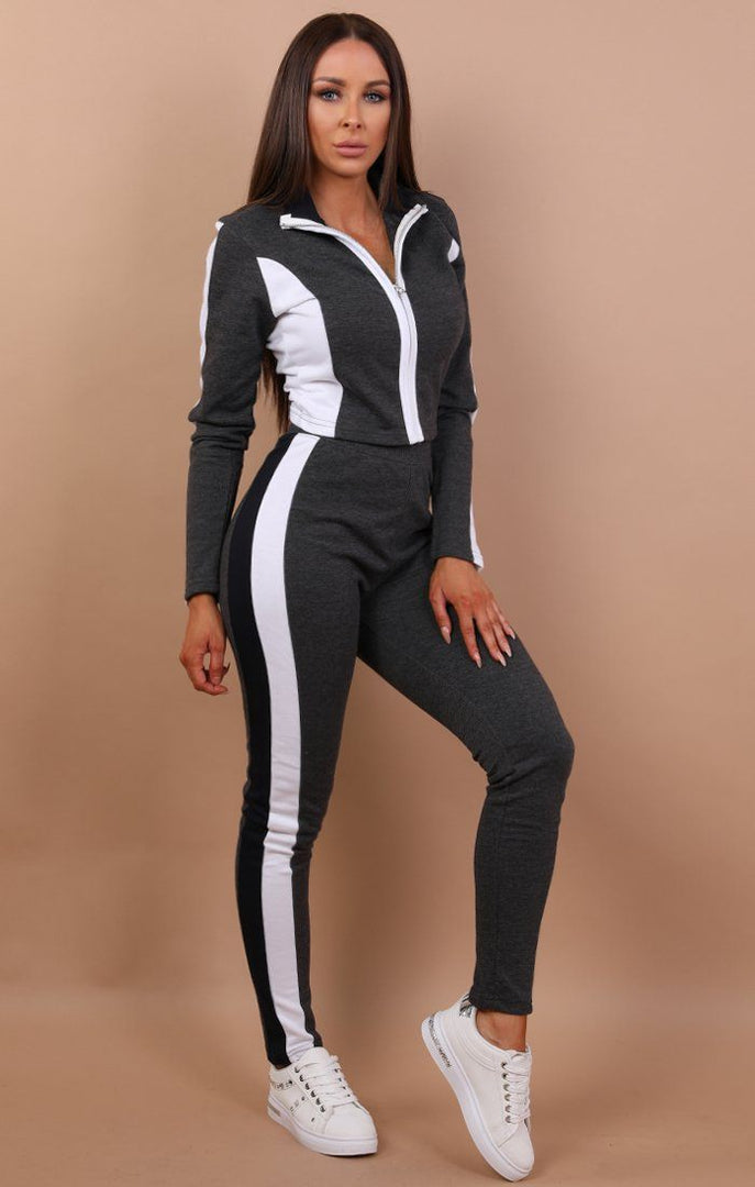 Charcoal And White Colour Contrast Loungewear - Carrie