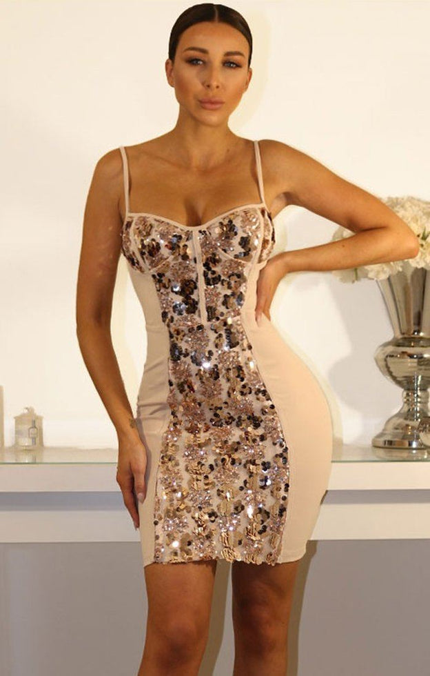 Rose Gold Sequin Front Mini Dress