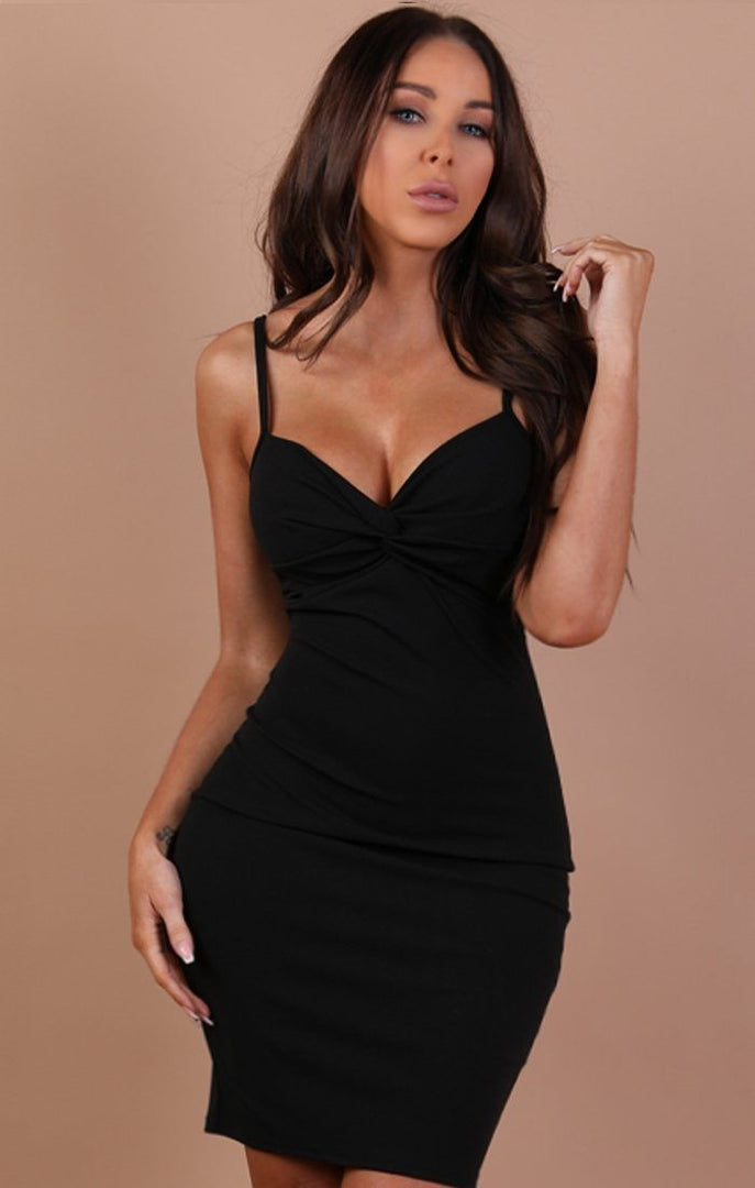 Black Front Twist Bodycon Dress – Lidia