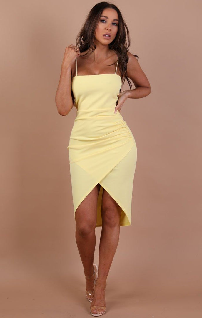 Yellow Bodycon Wrap Midi Dress – Hayley