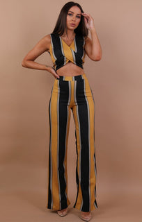 Mustard And Black Striped Co-ord Set - Misha