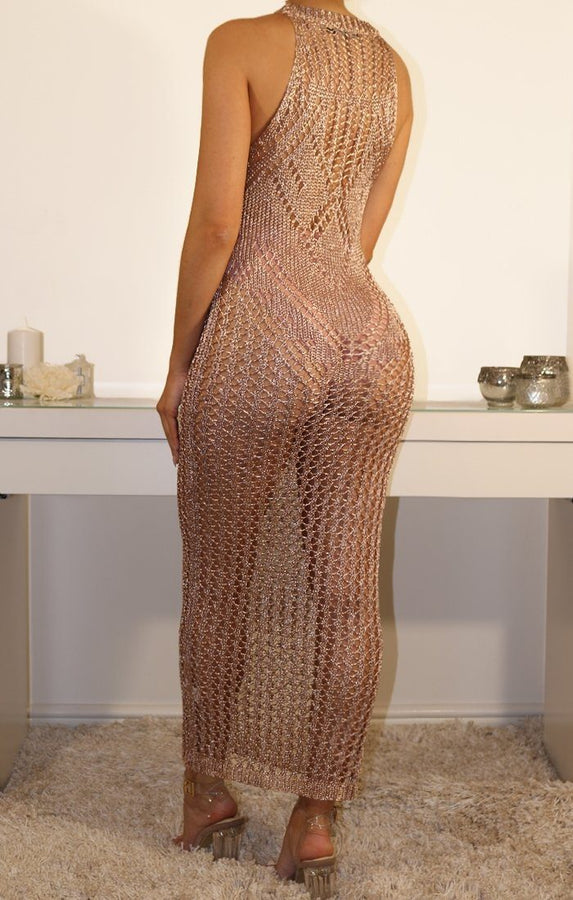 Metallic Knit Rose Gold Sleeveless Maxi Dress