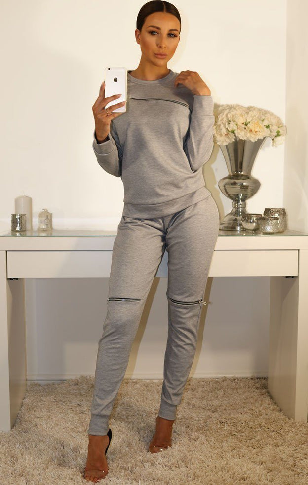 Grey Zip Detail Loungewear Set