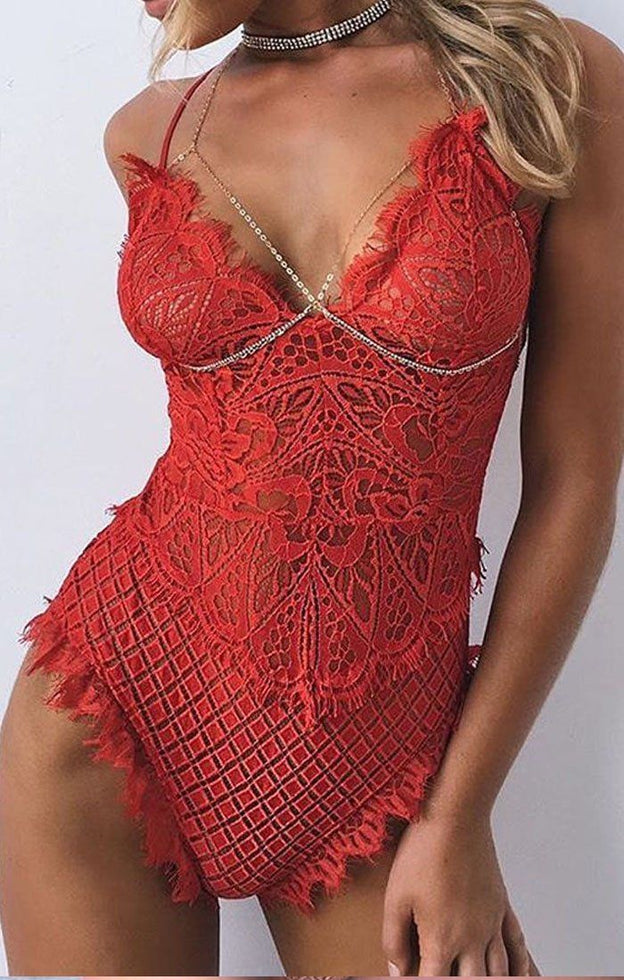 Red V-neck Floral Lace Bodysuit - Rosie
