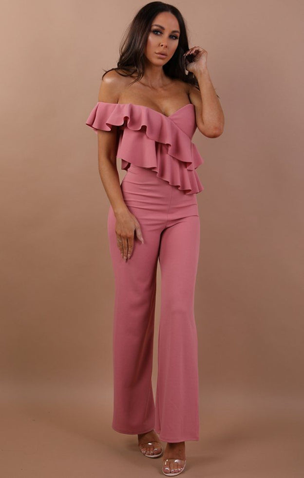 Rose One Shoulder Frill Jumpsuit - Becca
