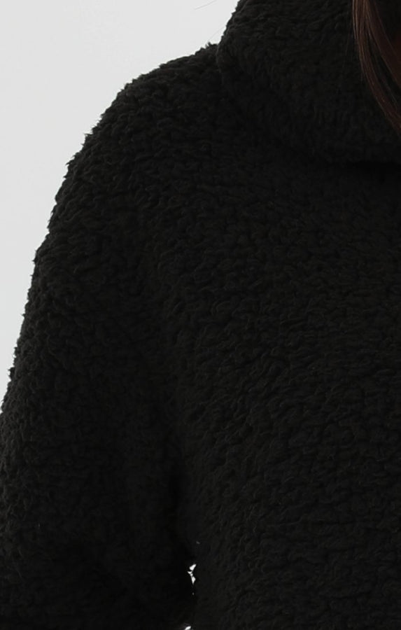 Black Teddy Zip Jacket - Castala