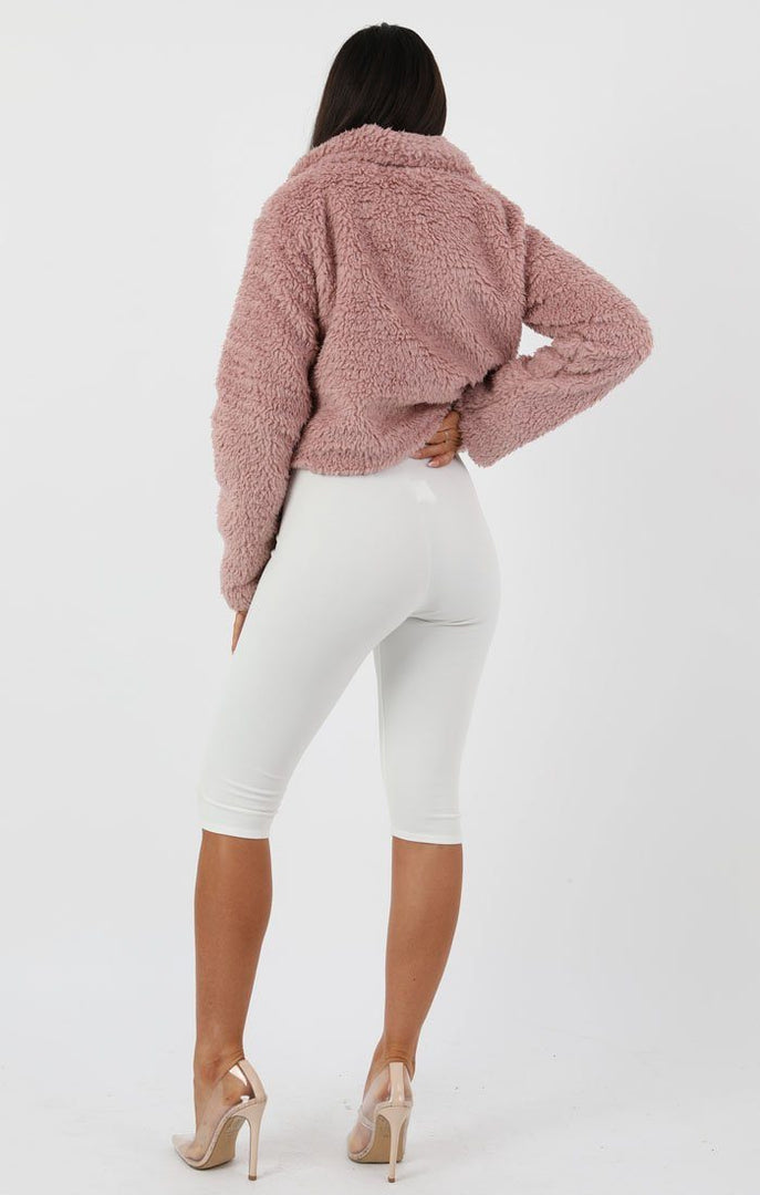 Rose Pocket Detail Crop Teddy Jacket - Olivia