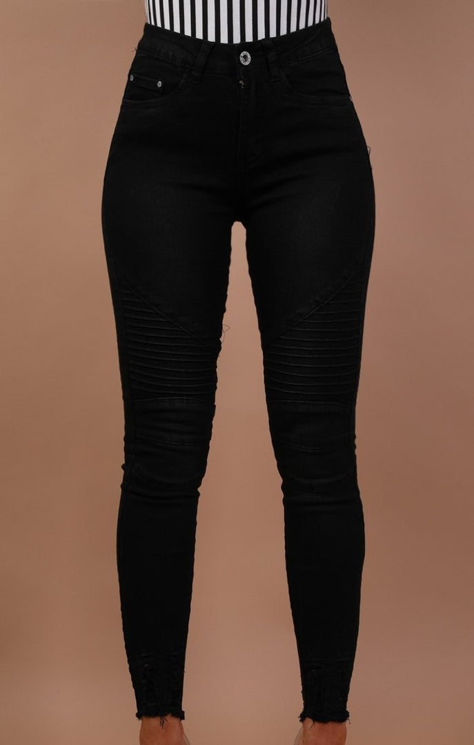 Black Ribbed Skinny Biker Jeans - Willow