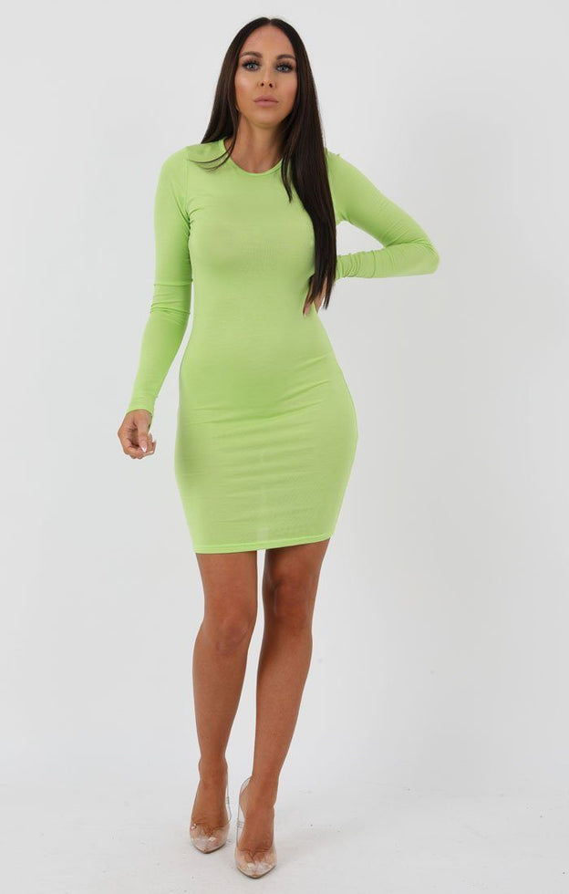 Lime Long Sleeve Bodycon Dress - Michelle