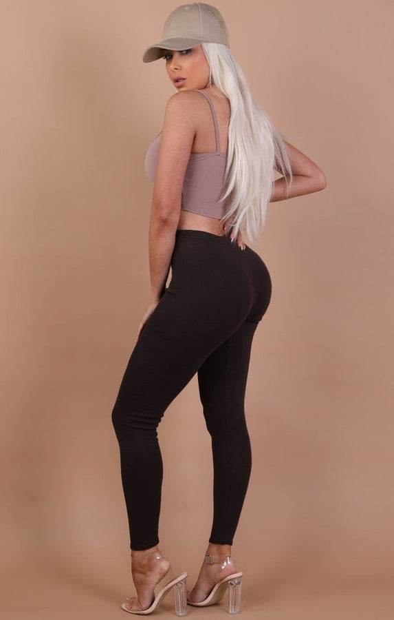 Chocolate Basic Leggings - Grace