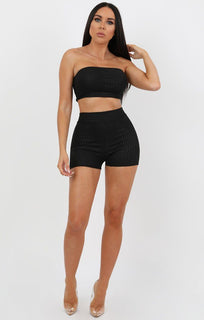 Black Animal Snake Print Cycling Shorts Co-Ord - Jenny