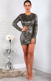 Gold Open Back Sequin Mini Dress