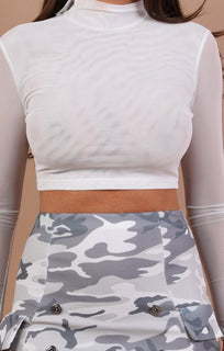 Grey Camo Bodycon Mini High Waist Skirt - Lani