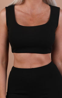 Black Thick Strap Basic Crop Top - Tammy