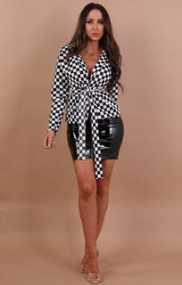 Black Check Belted Blazer - Sophia