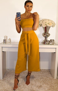 Mustard Cropped Two Piece Co-ord Set